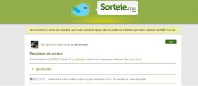 Sorteio - Reborn - Twitter